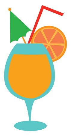 An elegant party glassware filled with an alcoholic drink mixed with the fruit juice of lemon  green and yellow umbrella made from paper  vector  color drawing or illustration Ilustrace