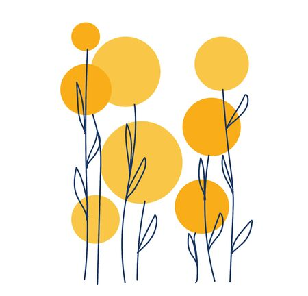 Line art of few yellow-colored flowers in the shape of balls along with slender  long stalks has oval-shaped leaves  vector  color drawing or illustration Ilustração