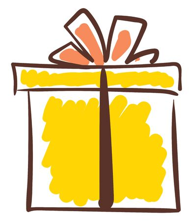 Sketch of a yellow-colored gift box tied with black ribbon and topped with red bow works well as presents on special days  vector  color drawing or illustration  イラスト・ベクター素材