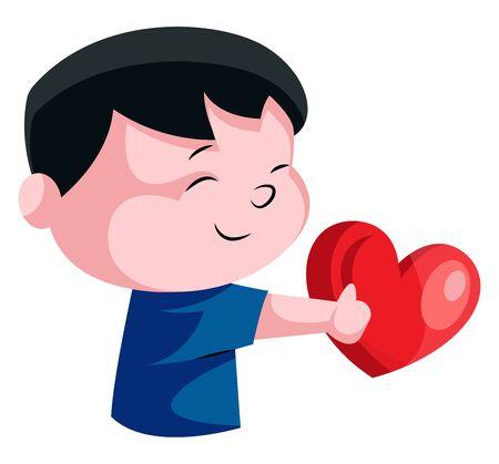 Little boy holding red heart illustration vector on white background