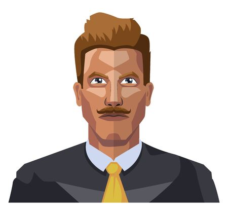 Guy dans une suite wiyh moustaches illustration vecteur sur fond blanc Vecteurs