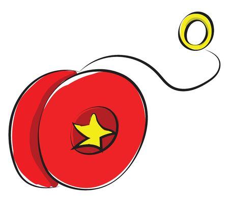 A yo-yo toy with a pair of joined red discs with yellow star design and a deep groove between them in which string is attached  vector  color drawing or illustration