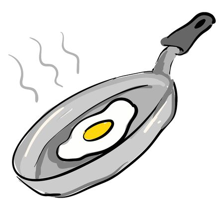 Grey pan with fried egg illustration vector on white background