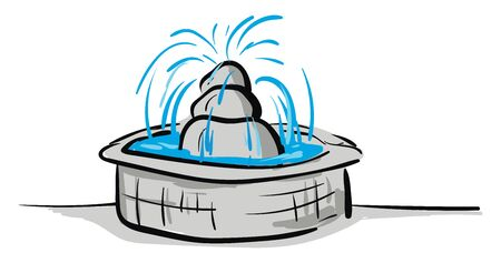 Stone gray fountain sprays water illustration vector on white background