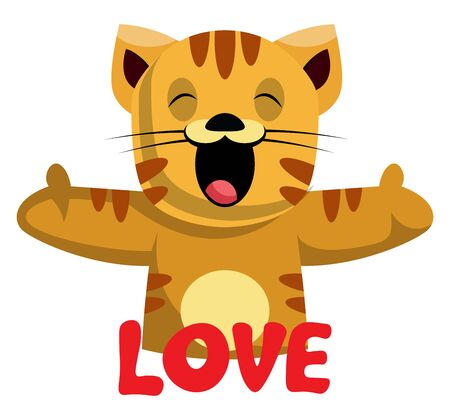 Ginger cat says that she loves you illustration vector on white background