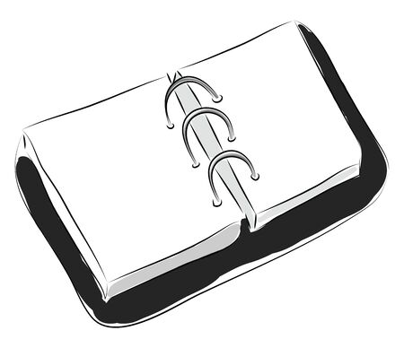 Black bookbinder with white papers illustration vector on white background