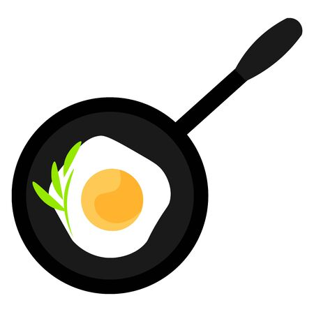 Black pan with fried egg illustration vector on white background
