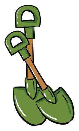 Green crossed shovels with handles illustration vector on white background