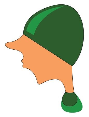 Male with green hat that covers his eyes illustration vector on white background 일러스트