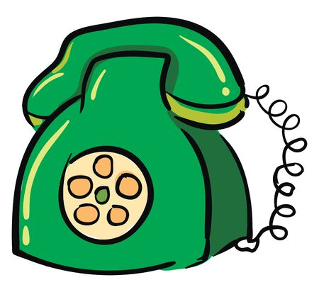 Green rotary dial phone illustration vector on white background
