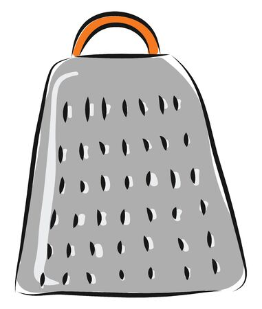 Grey grater with orange handle illustration vector on white background
