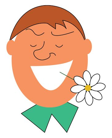 Man with a white flower in his mouth illustration vector on white background