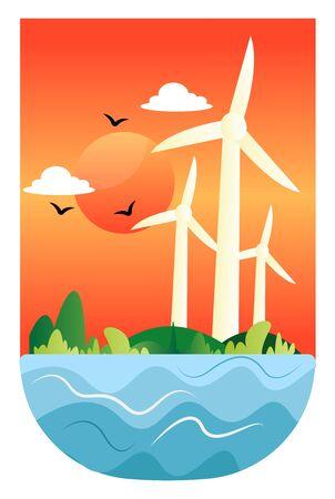 Illustration of windmills at a sunsetVector Illustration illustration vector on white background Ilustração
