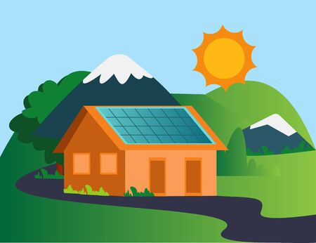 House in the mountain with solar panels illustration vector on white background