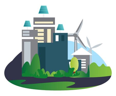 Buildings with solar panels and windmills in the background illustration vector on white background