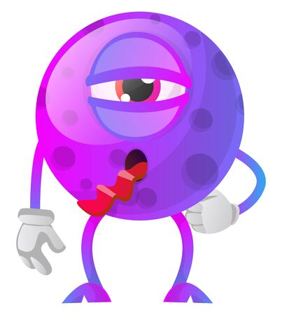 Sick purple monster with a tongue out illustration vector on white background Ilustrace