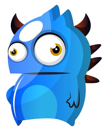 Blue monster with horns illustration vector on white background