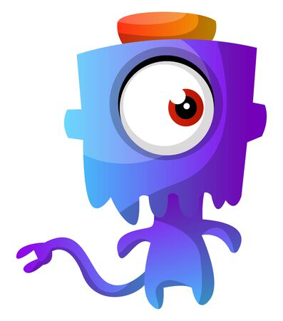 Blue monster with a hat illustration vector on white background