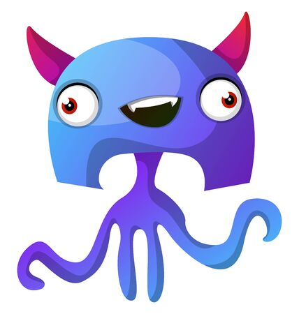 Blue monster with pink hornes illustration vector on white background Illustration