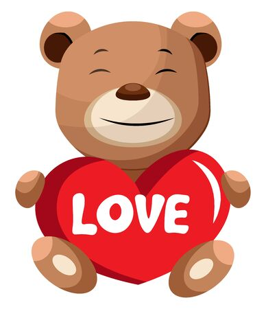 Brown bear holding heart that says love illustration vector on white background