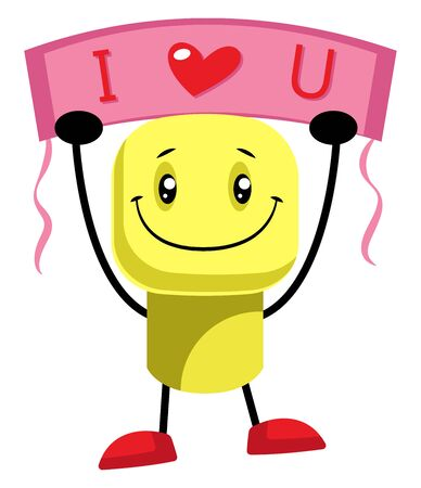 Yellow character says that he loves you illustration vector on white background  イラスト・ベクター素材