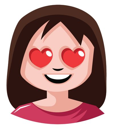 Girl with heart shaped eyes illustration vector on white background