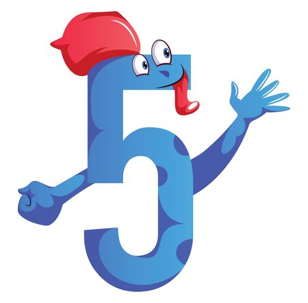 Number five blue monster with a hat and showing five fingers illustration vector on white background