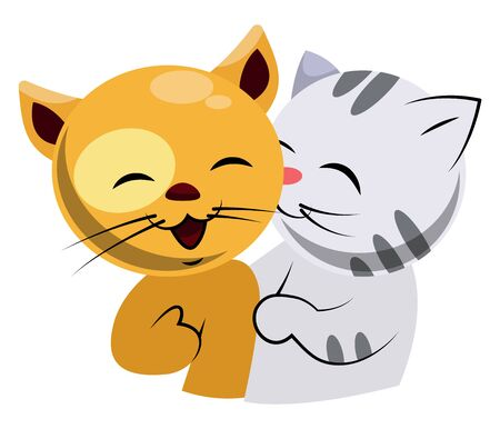 Yellow and white cat in love illustration vector on white background