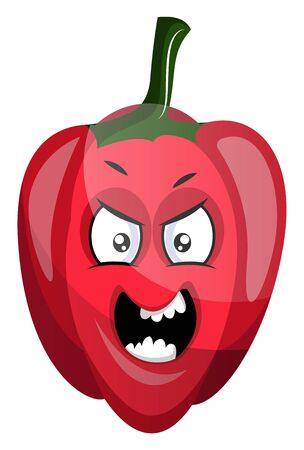 Angry capsicum illustration vector on white background
