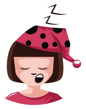 Girl is very sleepy ready for bed illustration vector on white background