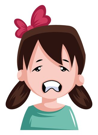 Stressed little girl with pigtails and bow in her hair illustration vector on white background