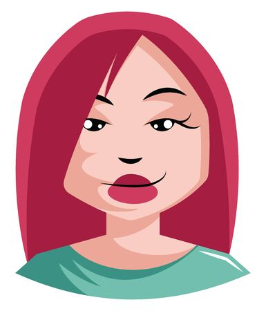 red haired girl being sexy illustration vector on white background