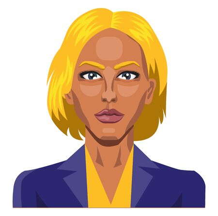 Girl with yellow hair and eyebrows illustration vector on white background