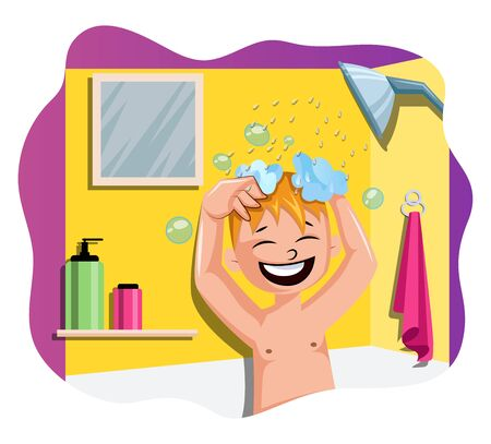Happy boy taking a bath illustration vector on white background