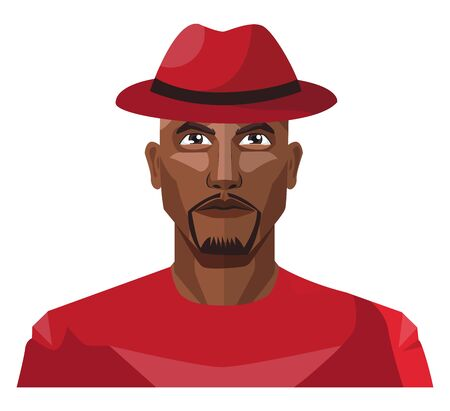 African male wearing red hat illustration vector on white background