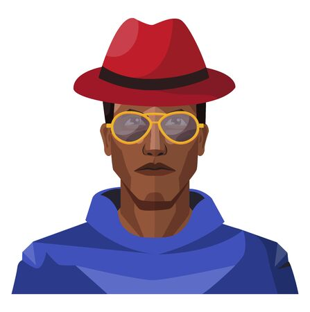 Pretty looking guy wearing red hat and sunglasses illustration vector on white background