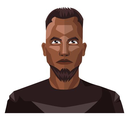 African guy with beard and short hair illustration vector on white background