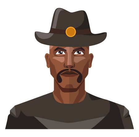 Guy with mustaches wearing a hat illustration vector on white background