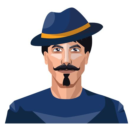 Guy wearing a blue hat and shirt illustration vector on white background
