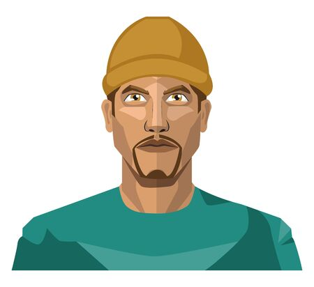 Guy with a goatee beard wearing a brown hat illustration vector on white background