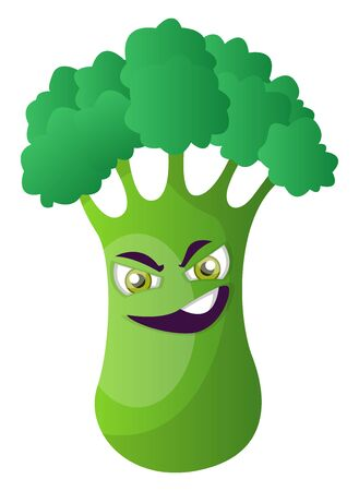 Evil broccoli illustration vector on white background 写真素材 - 132669600