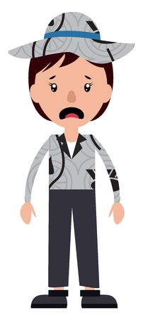 A scared teenage boy with a hat illustration vector on white background