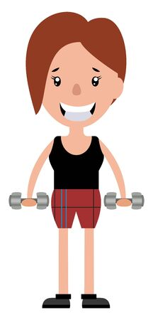 Young woman working out with a set of weights illustration vector on white background Illustration