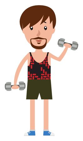 Cartoon man working out with the set of weights illustration vector on white background