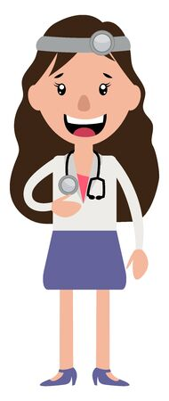 A woman doctor with stethoscope laughing illustration vector on white background