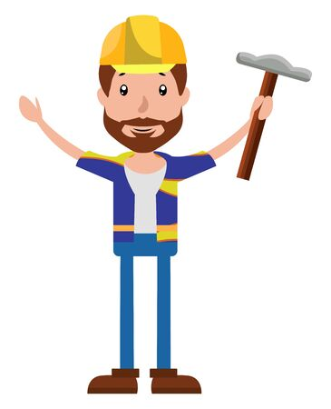 Cartoon construction worker holding a hammer illustration vector on white background