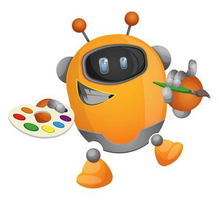 Cartoon robot painter illustration vector on white background Ilustração