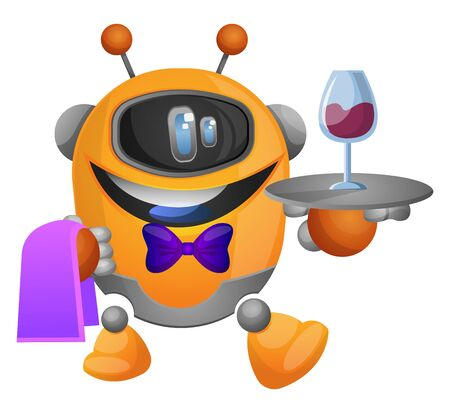 Robot as a waiter illustration vector on white background Иллюстрация