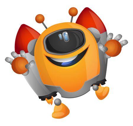 Cartoon robot on a rocket propulsion illustration vector on white background