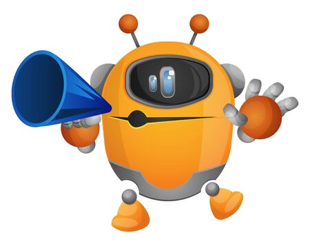 Cartoon robot speaking on a megaphone illustration vector on white background